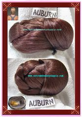 """Auburn color hair dome (sell by 1 pc) piece bun chignon wiglet clamp fasion pony tail pre-styled Ballet PAGEANT updo hairdo Dance Size 5"""" 1/2 x 4 """" 1/2 x 2"""" 3/8 high"""