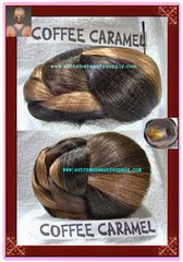 """COFFEE CARAMEL color hair dome piece (sell by 1 pc) bun chignon wiglet clamp fashion pony tail pre styled Ballet PAGEANT Tressallure updo hairdo up do hair do Dance Size 5"""" 1/2 x 4 """" 1/2 x 2"""" 3/8 high"""