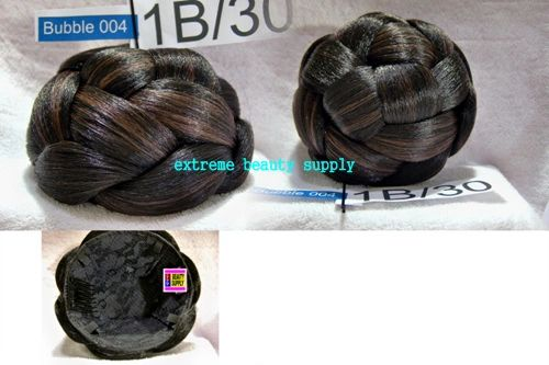 color # 1B / 30 black with brown auburn mix hair dome piece bun chignon wiglet cheerleader flag team dance concert band formaldance weddings	Superline Super line Hair Collection bubble 4 LARGE size 5 inch diameter 3 inch high