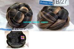 color # 1B/27 black with light brown mix hair dome piece bun chignon wiglet cheerleader flag team dance concert band formal dance weddingsSuperline Super line Hair Collection bubble 4 LARGE size 5 inch diameter 3 inch high