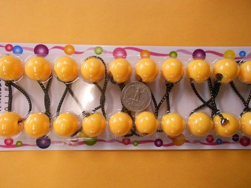 yellow ELASTIC tie jumbo beads hair Knocker girl Scrunchie Balls Ponytail Holder