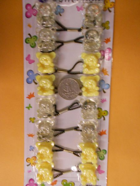 yellow clear bear ELASTIC tie jumbo beads hair Knocker girl Scrunchie Balls Ponytail Holder