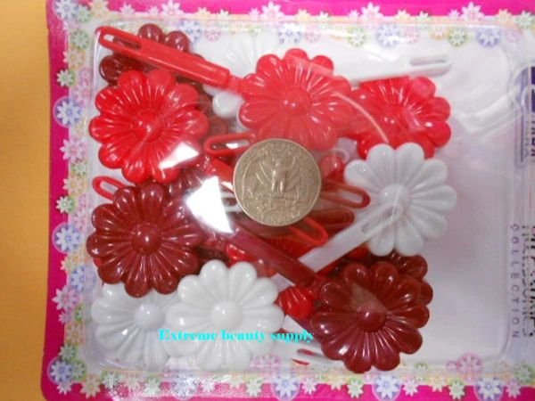 red white PLASTIC GIRL HAIR BARRETTE accessories SELF HINGE CLIP BOW PIN