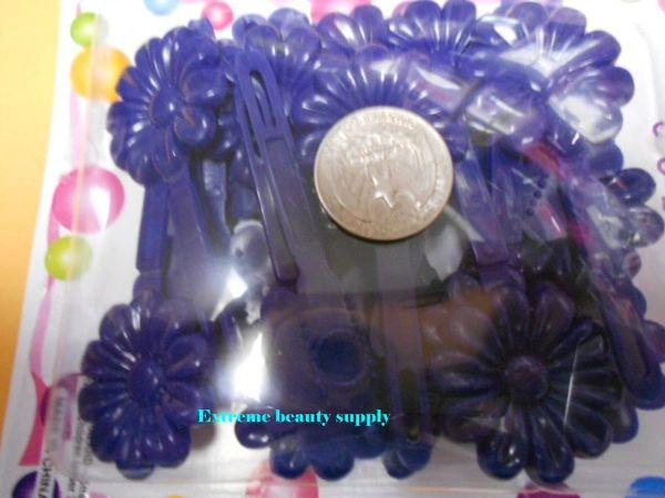 navy blue PLASTIC GIRL HAIR BARRETTE accessories SELF HINGE CLIP BOW PIN