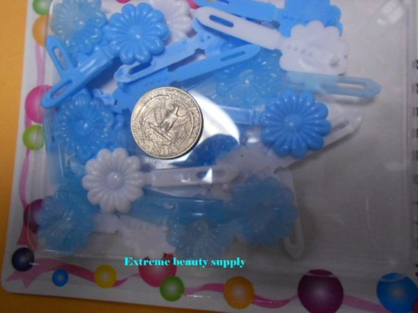 sky blue PLASTIC white GIRL HAIR BARRETTE ACCESSORIES SELF HINGE CLIP BOW PIN