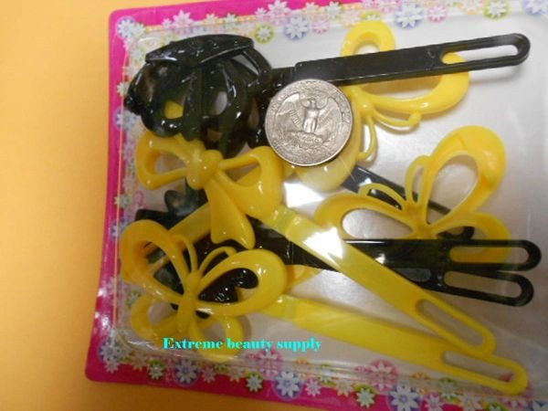 black yellow long PLASTIC GIRL HAIR BARRETTE ACCESSORIES SELF HINGE CLIP BOW PIN