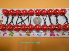 red round ELASTIC TIE JUMBO BEADS HAIR KNOCKER GIRL SCRUNCHIE BALLS PONYTAIL HOLDER