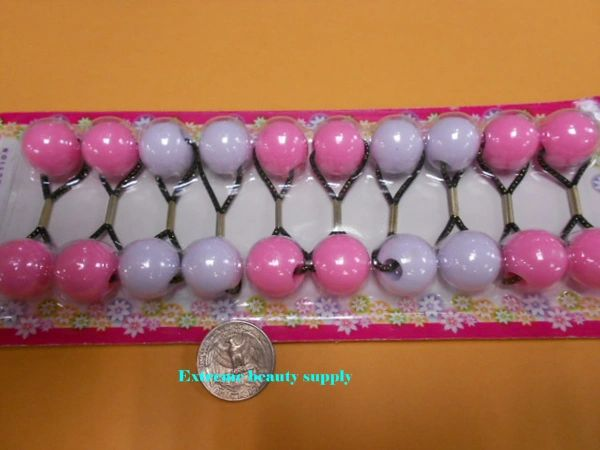 white pink ELASTIC TIE JUMBO BEADS HAIR KNOCKER GIRL SCRUNCHIE BALLS PONYTAIL HOLDER