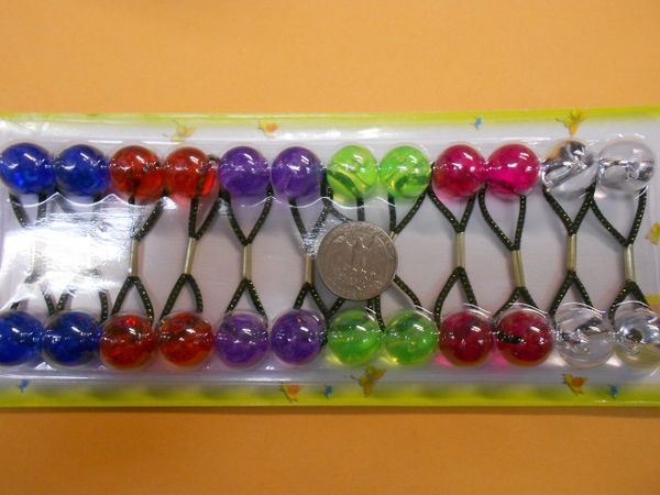 red green purple blue ELASTIC tie jumbo beads hair Knocker girl Scrunchie Balls Ponytail Holder