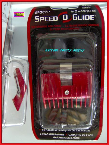"speed O guide clipper guard No N 000 1/32"" 00 1/16"" 3/16"" 0a 5/16"" No 1 7/16"" No 2 11/16"" No 1a 9/16"" red universal Comb Attachment"