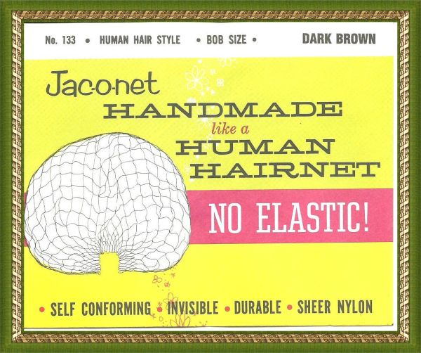 Jac-O-Net No 133 Elastic Style Dark brown Hair Net Bob size hand made no elastic Free shipping USA only