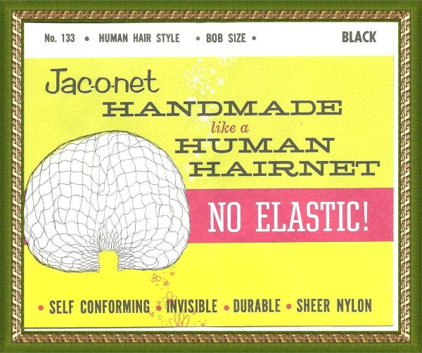 Jac-O-Net No 133 Elastic Style black Hair Net Bob size hand made no elastic