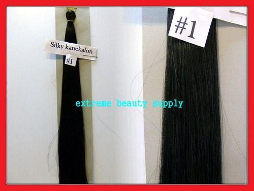 straight silky color # 1 JET BLACK 100% kanekalon synthetic braid hair dreadlock dread lock doll reroot paty COSTUME crown stage play