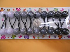 dark gray ELASTIC TIE JUMBO BEADS HAIR KNOCKER GIRL SCRUNCHIE BALLS PONYTAIL HOLDER