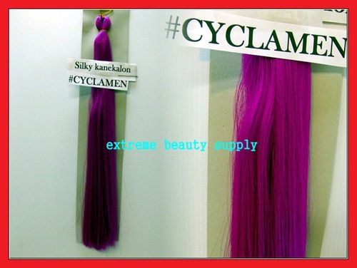 straight silky color CYCLAMEN 100% kanekalon synthetic braid hair dreadlock dread lock doll reroot paty COSTUME crown stage play