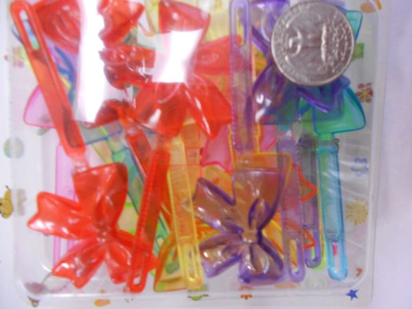 clear yellow sky blue red pink purple PLASTIC GIRL HAIR BARRETTE accessories SELF HINGE CLIP BOW PIN