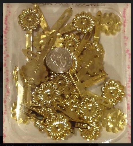 gold color PLASTIC GIRL HAIR BARRETTE ACCESSORIES SELF HINGE CLIP BOW PIN