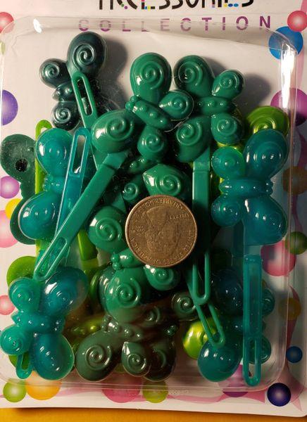 light dark green PLASTIC GIRL HAIR BARRETTE ACCESSORIES SELF HINGE CLIP BOW PIN