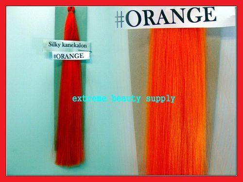 straight silky color ORANGE 100% kanekalon synthetic braid hair dreadlock dread lock doll reroot paty COSTUME crown stage play