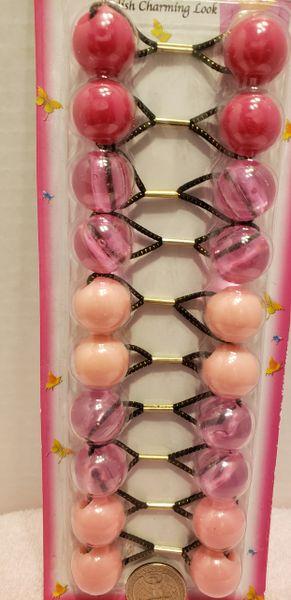clear pink ELASTIC JUMBO BEADS HAIR TIE KNOCKER GIRL SCRUNCHIE BALLS PONYTAil holder