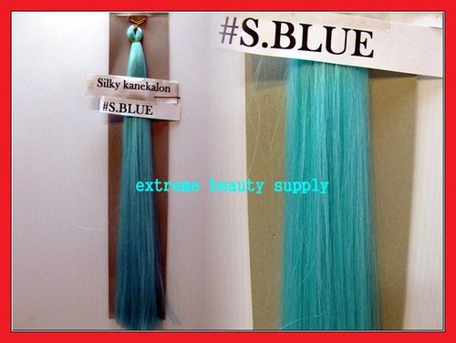 straight silky color SKY BLUE 100% kanekalon synthetic braid hair dreadlock dread lock doll reroot paty COSTUME crown stage play