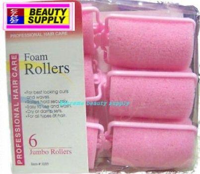 "Foam roller 1 1/2"" x 2 1/2"" inch jumbo 6 count pink dry damp set"