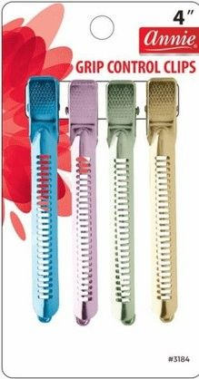 annie control clips #3184 HAIR SECTIONING CLIPS FOR DIFFERENT STYLES 4 CLIPS COLOR: ASSORTED