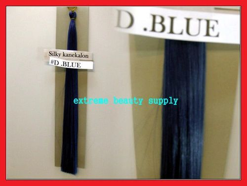 straight silky color DARK BLUE 100% kanekalon synthetic braid hair dreadlock dread lock doll reroot paty COSTUME crown stage play