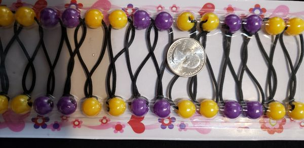 yellow purple LSU color ELASTIC TIE JUMBO BEADS HAIR KNOCKER GIRL SCRUNCHIE BALLS PONYTAIL HOLDER