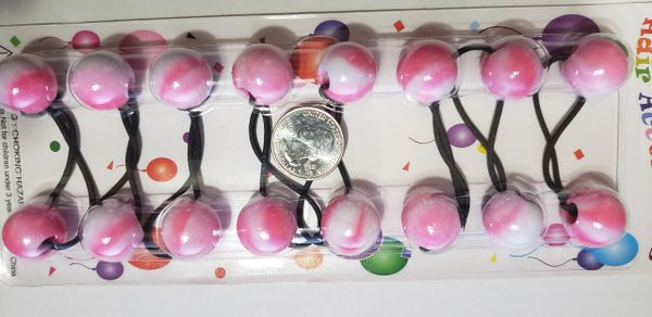 big ELASTIC hot pink white mix JUMBO BEADS HAIR TIE KNOCKER GIRL SCRUNCHIE BALLS PONYTAil hol