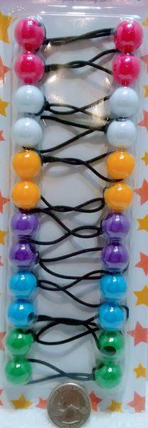 purple pink blue yellow green ELASTIC tie jumbo beads hair Knocker girl Scrunchie Balls Ponytail Holder
