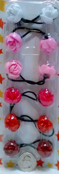 white pink red rose ELASTIC tie jumbo beads hair Knocker girl Scrunchie Balls Ponytail Holder
