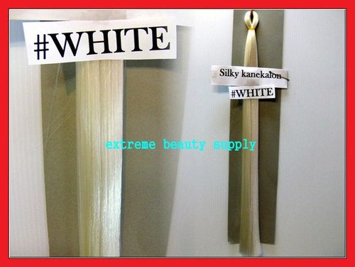 straight silky color WHITE 100% kanekalon braid hair dreadlock dread lock doll reroot paty stage play