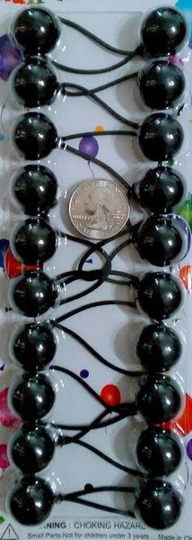 black ELASTIC JUMBO BEADS HAIR TIE KNOCKER GIRL SCRUNCHIE BALLS PONYTAil holder