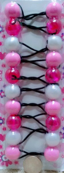 ELASTIC clear pink white JUMBO BEADS HAIR TIE KNOCKER GIRL SCRUNCHIE BALLS PONYTAil holder