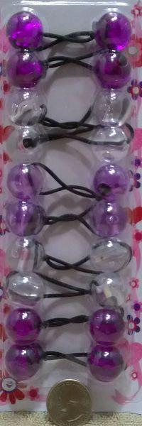 big ELASTIC clear purple light JUMBO BEADS HAIR TIE KNOCKER GIRL SCRUNCHIE BALLS PONYTAil hol