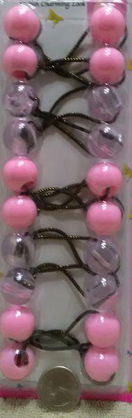 ELASTIC clear pink JUMBO BEADS HAIR TIE KNOCKER GIRL SCRUNCHIE BALLS PONYTAIL HOLDER