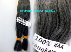 100 % kanekalon braid hair color # 44 OFF BLACK WITH 70% GRAY silver gary dreadlock dread lock kanekalon synthetic braid hair dreadlock dread lock doll reroot paty COSTUME crown stage play color extension 38 inch long (when unfold it ) 2 oz w.t
