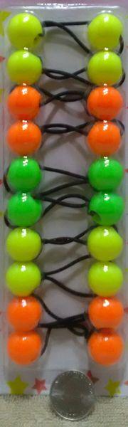 neon yellow green orange mix ELASTIC TIE JUMBO BEADS HAIR KNOCKER GIRL SCRUNCHIE BALLS PONYTAIL HOLDER