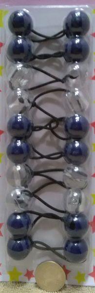 clear navy blue round ELASTIC TIE JUMBO BEADS HAIR KNOCKER GIRL SCRUNCHIE BALLS PONYTAIL HOLDER