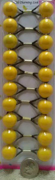 yellow color ELASTIC TIE JUMBO BEADS HAIR KNOCKER GIRL SCRUNCHIE BALLS PONYTAIL HOLDER