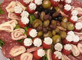 antipasto, catering, olives, salami, party trays, catering tray, italian food