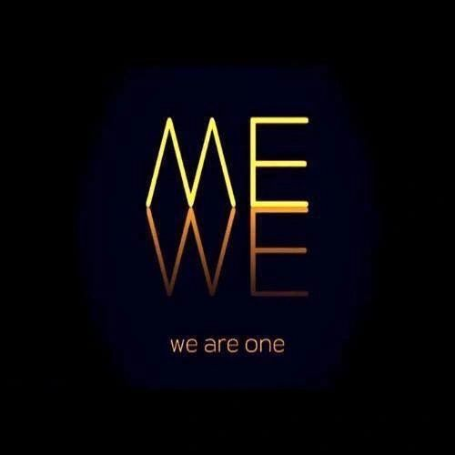 "Gold letters saying, ""we are one"" on a black background."