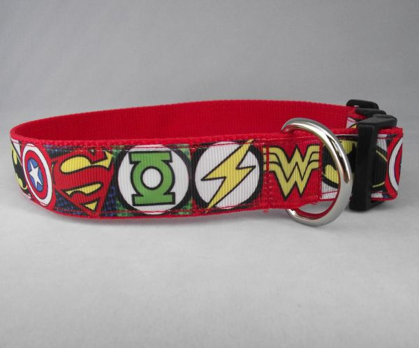 SuperHero Mixed Logos Dog Collar Handmade