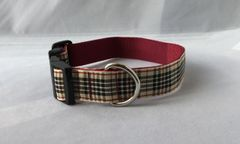Blackberry Tartan Handmade Dog Collar Plaid