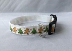 Christmas Tree and GingerBread Man Handmade Dog Collar
