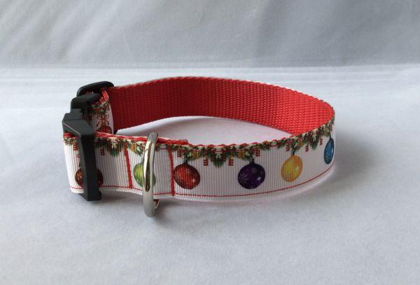Christmas Baubles Handmade Dog Collar
