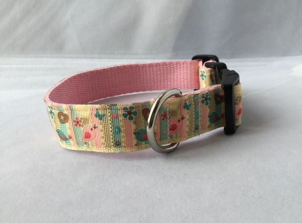Cute Shabby Chic Birds Handmade Dog Collar