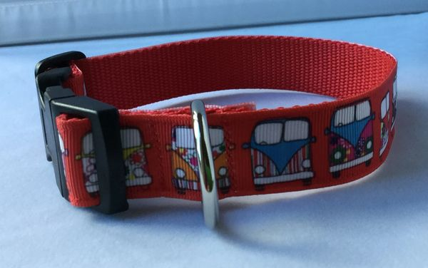 Camper Van Style 2 Red Background Handmade Dog Collar