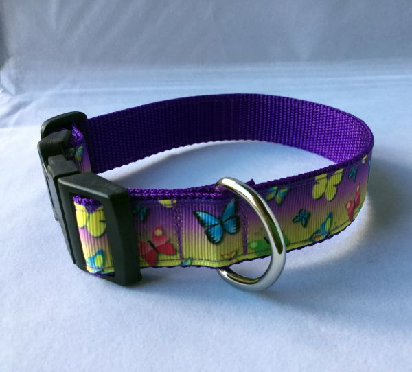 Butterflies Multi Coloured Handmade Dog Collar
